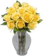 1 Dozen Long Stem Yellow Roses with FREE  Vase