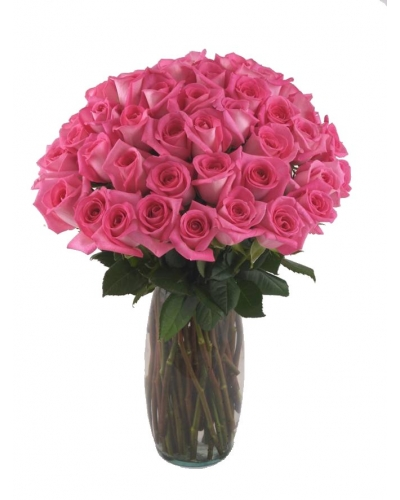 36 Long Stem Pink Roses With Free Vase