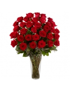 36  Long Stem Red Roses with FREE Vase