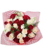 Christmas White&Red Rose Bouquet