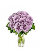 1 Dozen Lavender Long Stem Roses with FREE Vase