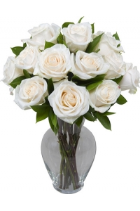 1 Dozen Long Stem Fresh White Roses with Vase