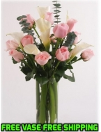 Pink Roses with Callas Bouquet