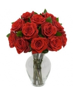 1 Dozen Royal Charlotte Red Roses with FREE  Vase
